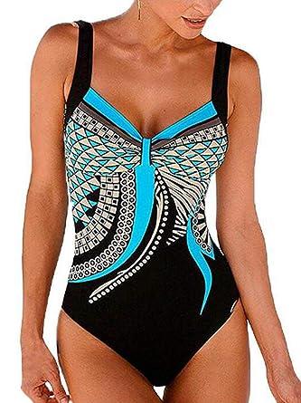 9db6d52a80e0b6 Ajpguot Badeanzug Damen Push up Bademode Bauchweg Figurformend Bandeau  Badebekleidung Große Größen Rückfrei Einteiler Swimwear,