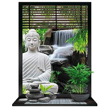 Sticker Trompe L\'Oeil \'Jardin Zen\'buddha - 50x70 cm (19.69\'\'x27.56 ...