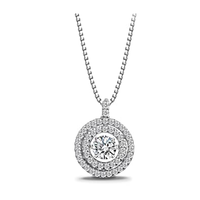 """ca72bdd2453a T400 Jewelers""""Forever Love"""" 925 Sterling Silver Dancing Stone  Cubic Zirconia from Swarovski Pendant"""