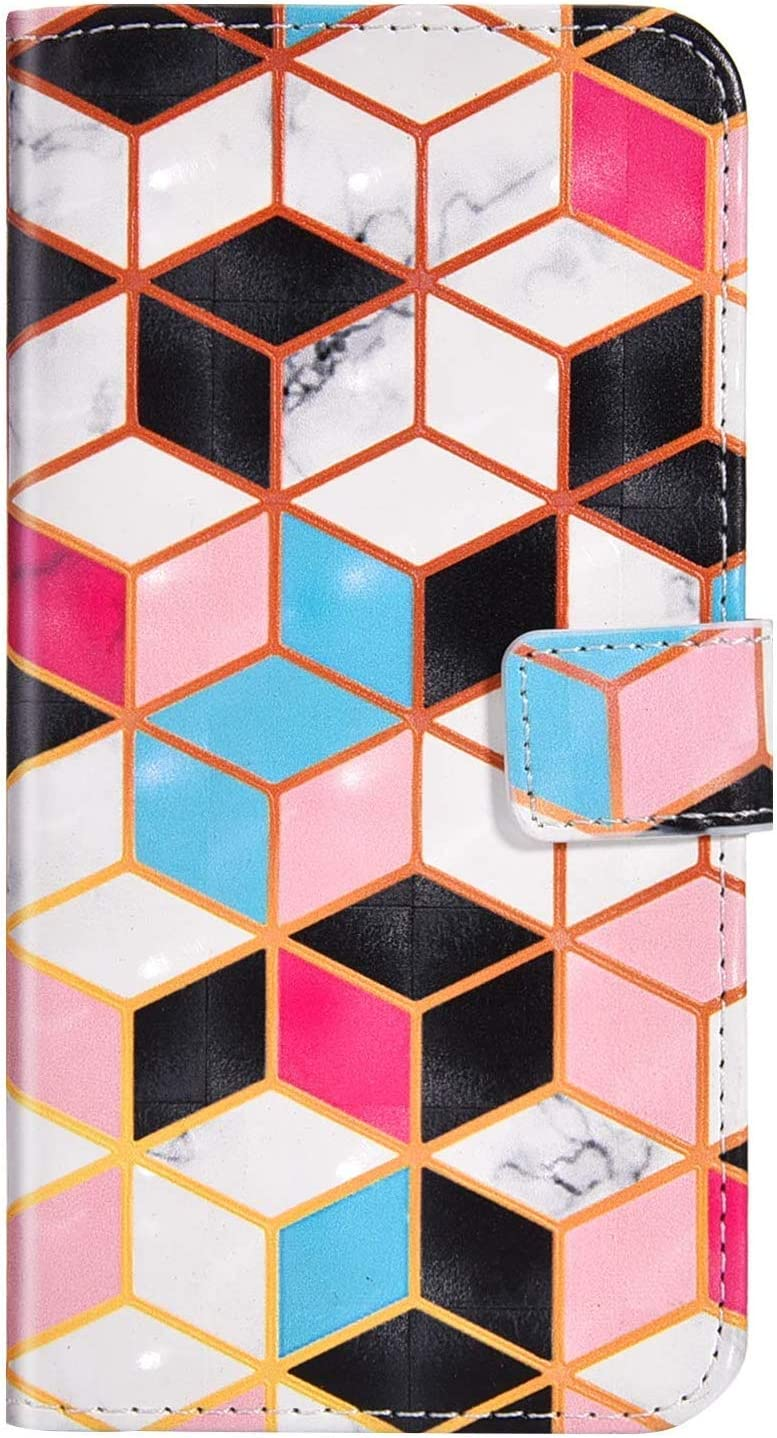 JAWSEU Kompatibel mit Huawei P20 H/ülle Leder H/ülle Schutzh/ülle 3D Marmor Muster Flip Case Cover Handyh/ülle Brieftasche Etui Wallet Tasche St/änder f/ür Huawei P20,Dreieck