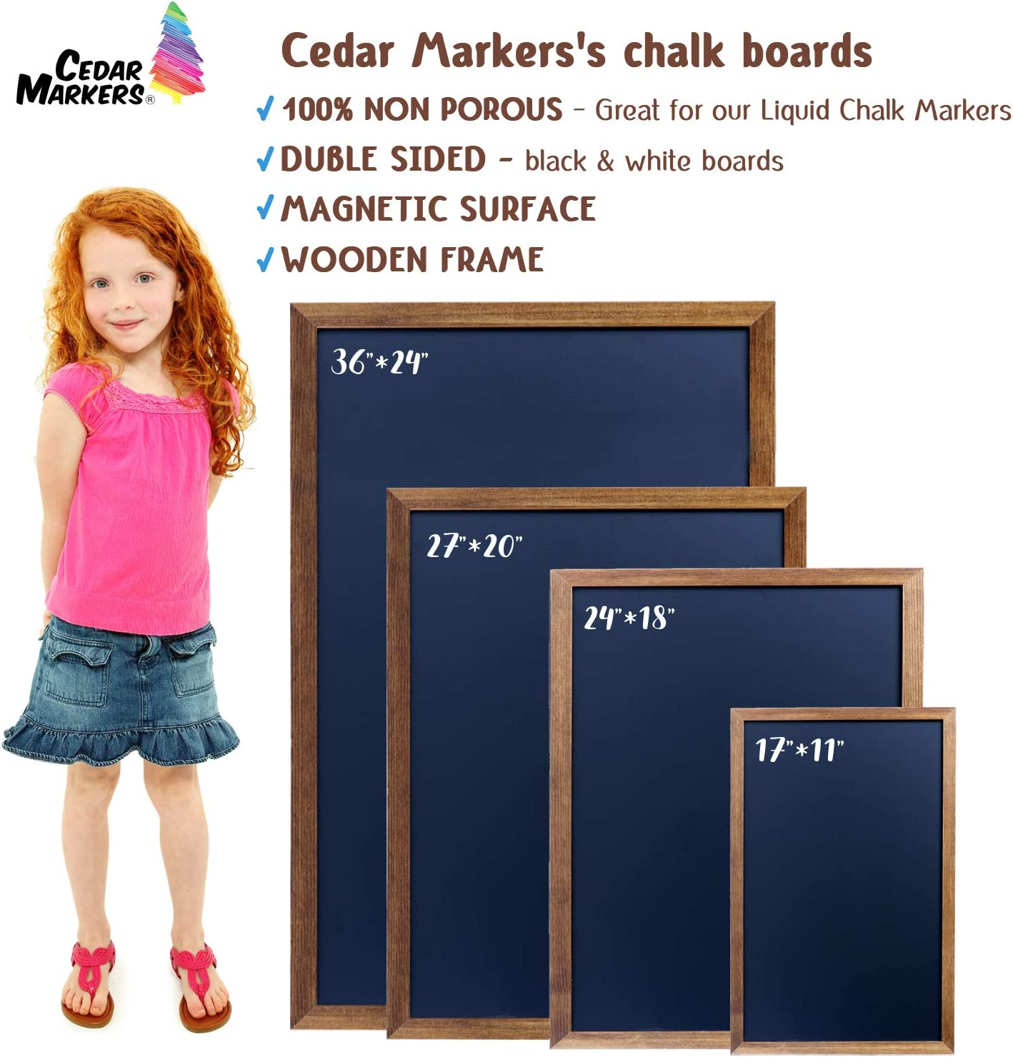 """Cedar Markers 27""""x20"""" Framed Chalkboard Sign. 100% Non-Porous Erasable Blackboard and Whiteboard. Chalk Board for Chalk Markers. Homeschool Magnet Board Decorative Big Chalkboard for Every Event.: Home & Kitchen"""