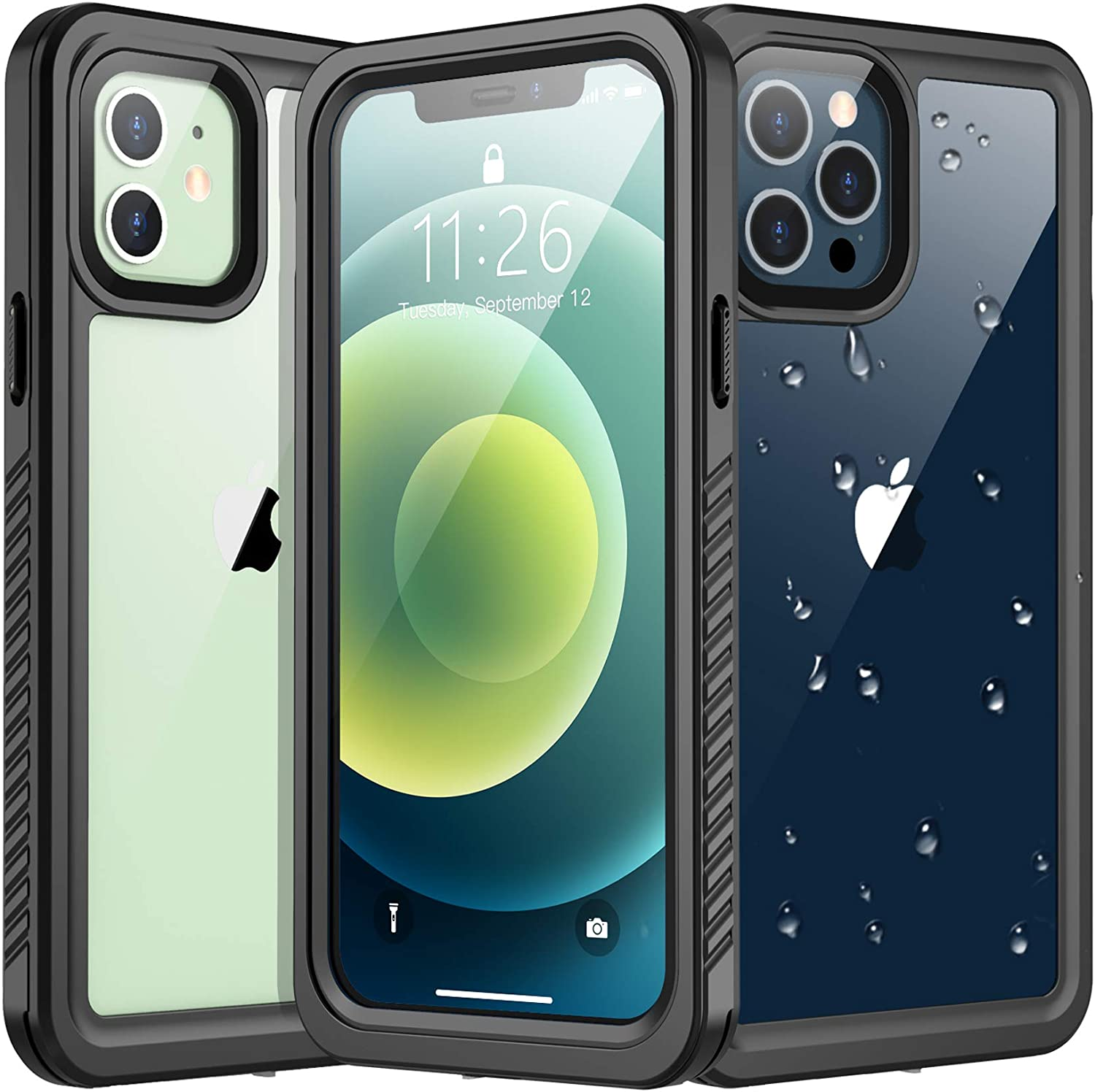 Vapesoon Designed for iPhone 12 Case,for iPhone 12 Pro Case, Waterproof Full Body with Built-in Screen Protector Rugged Clear Case for iPhone 12, for iPhone 12 Pro (Black/Clear)