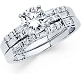 14k White Gold Solid Engagement Ring and Wedding Band 2 Piece Set 1.25 Ct