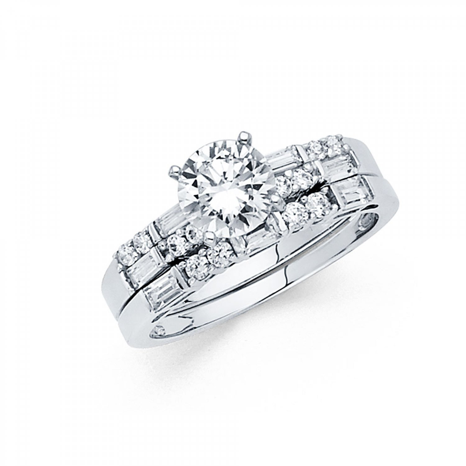 d5ec60eefe5dbf Amazon.com: 14k White Gold Solid Engagement Ring and Wedding Band 2 Piece  Set 1.25 Ct: Jewelry