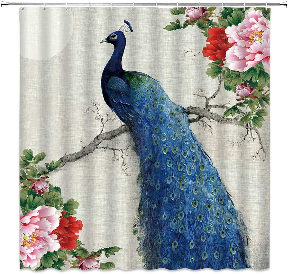 Lileihao Blue Peacock Shower Curtains Watercolor Beautiful Bird Peony Flower Plant Bathroom Decor