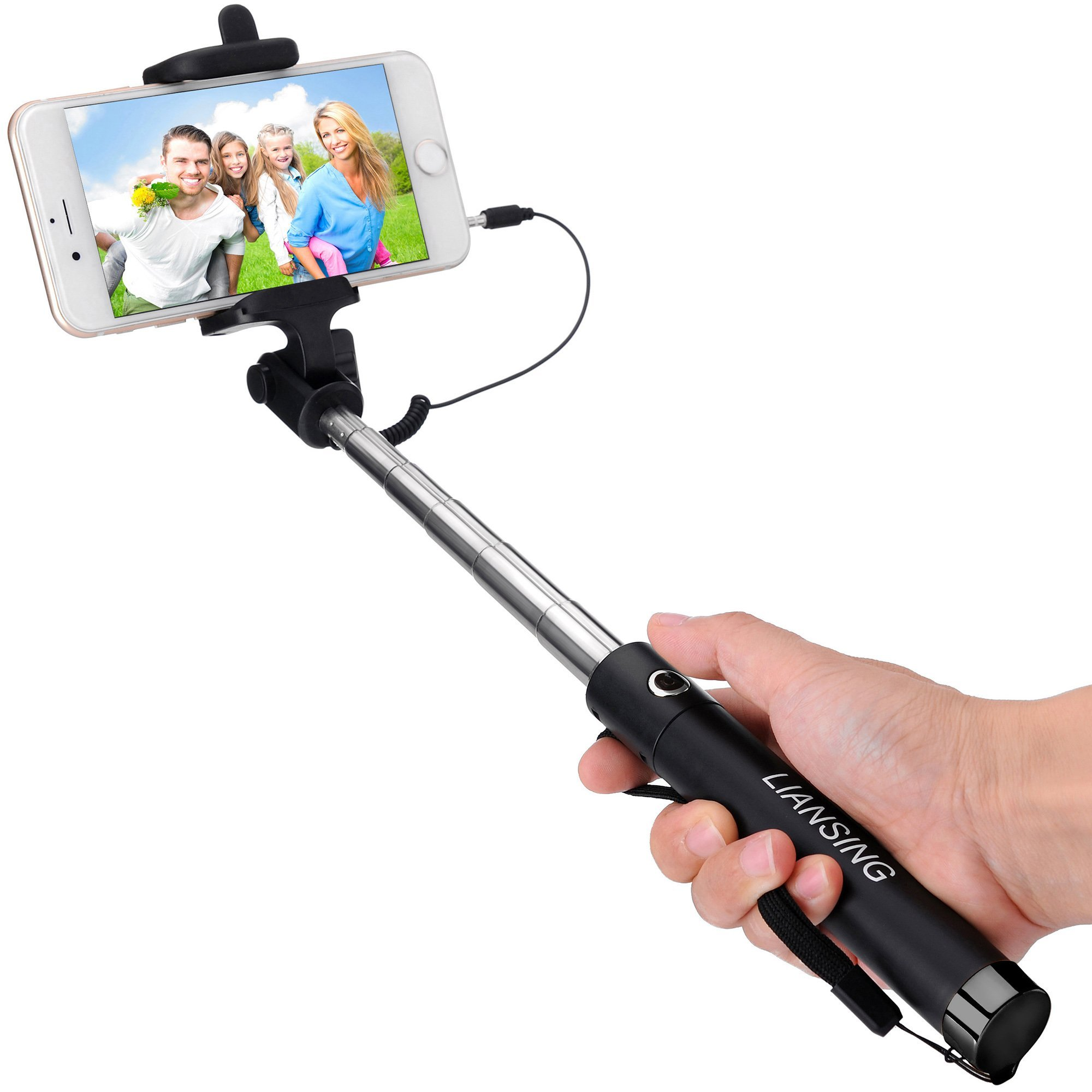 Selfie Stick, LIANSING Monopods Wired Self portrait stick One-piece U-Shape ultra compact Foldable and Extendable Self-Stick with waterproof Bag for iPhone6 6s 6plus 5s SE Samsung S7 S6 Black