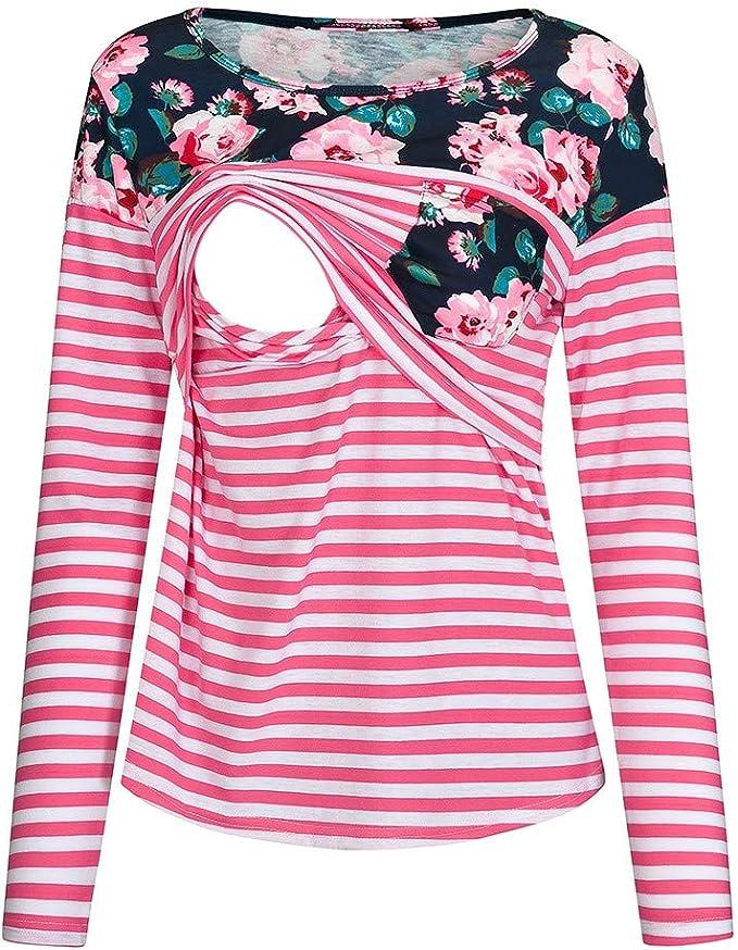 Camiseta de Lactancia Floral para Mujer Camisa de Maternidad de Manga Larga con Rayas premamá Tops Blusa Rosa Caliente L: Amazon.es: Ropa y accesorios