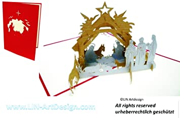 Amazon.com : LIN - Pop Up 3D Christmas Xmas Greeting Card, Nativity ...