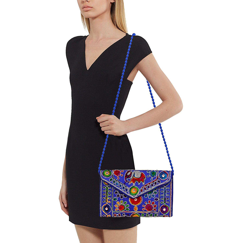 Blue Women Banjara Clutch Bag in Rajasthani Style Magenatic Closure Foldover Clutch Purse