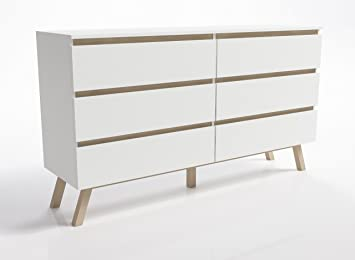 Front Furniture 6 Drawer Wide Chest Scandinavian Modern White