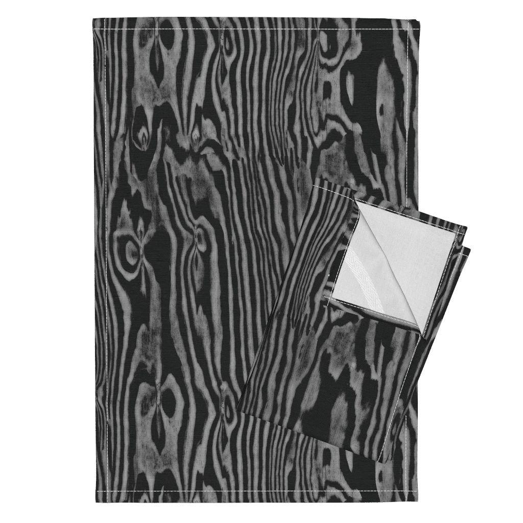 Wood Woodgrain Faux Bois Bark Nature Silver Grey Tea Towels Faux Bois Woodgrain ~ Black by Peacoquettedesigns Set of 2 Linen Cotton Tea Towels