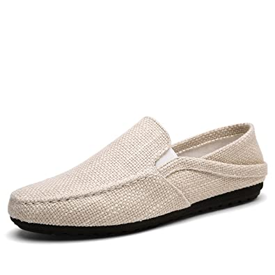 Amazon.com | Sonjer Summer Men Hemp Shoes Breathable Casual Boat Shoes Men Loafers Ultralight Lazy Shoes Beige Flats | Loafers & Slip-Ons
