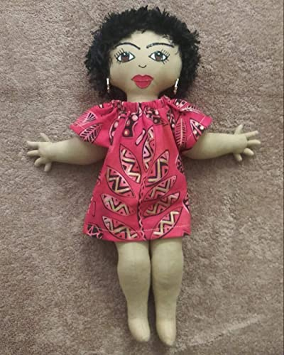 African Inspired Head Wrap Ethnic Doll Black Doll Maker Black Doll 11 inch Doll Handcrafted Hand Painted African American Doll Multicultural Doll Natural Hair Styles Collectible Doll