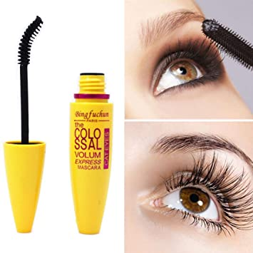 LtrottedJ Cosmetic Black Mascara Makeup Eyelash ,Waterproof Extension Curling Eye Lashes (Yellow)