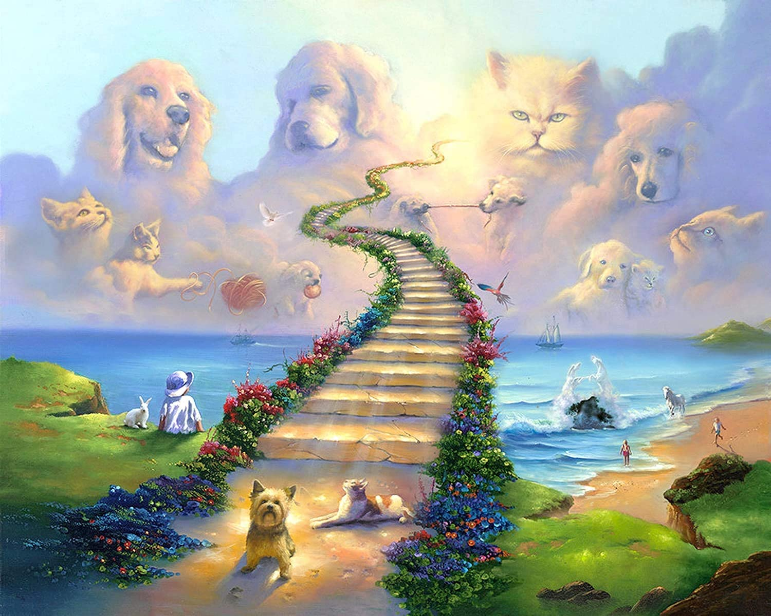 Rainbow Bridge All Pets Go Stairway To Heaven Canvas Wall Art Prints Home Decor Painting for Bedroom Living Room (Unframed,16x20inch)