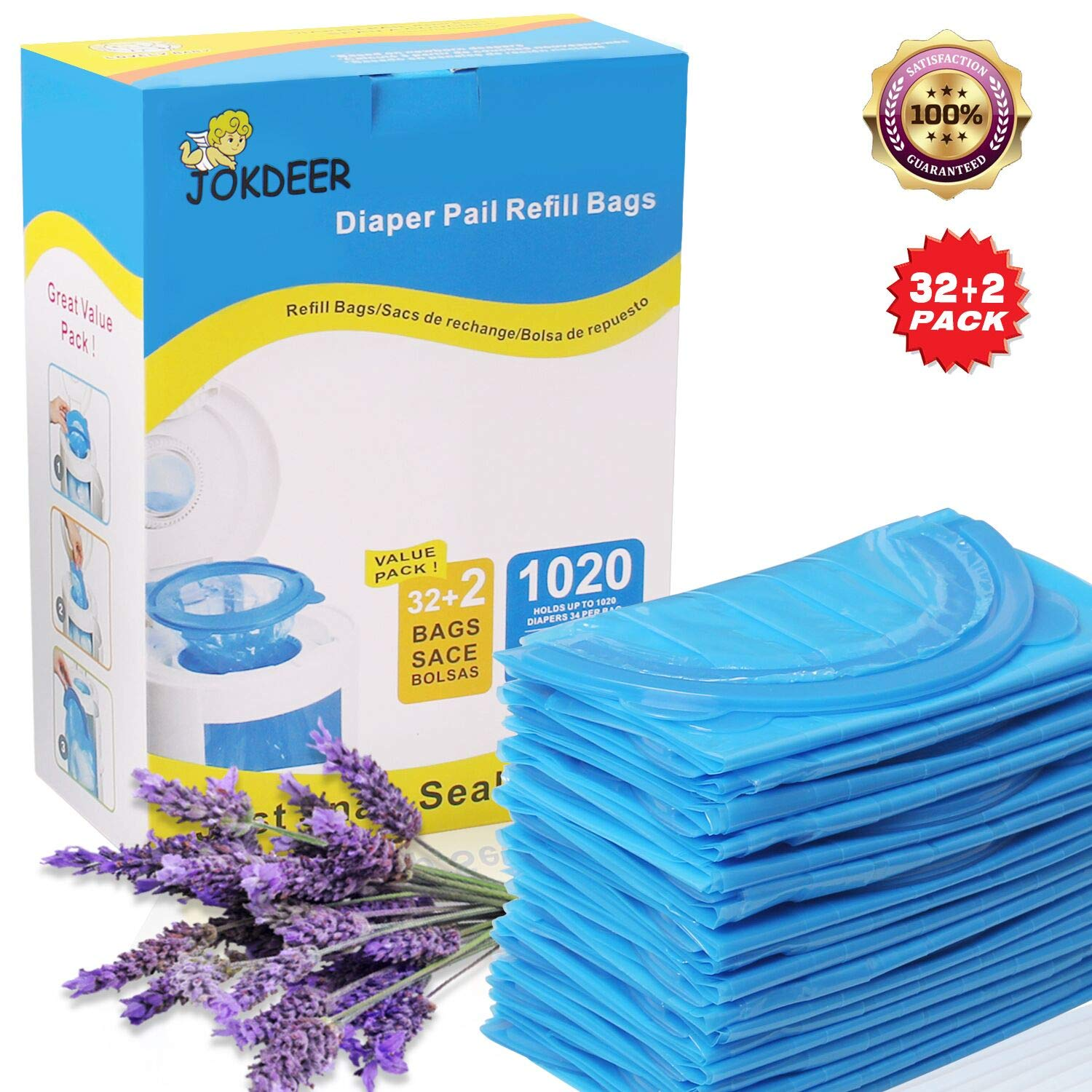 JOKDEER Diaper Pail Refill Bags 1020 Counts 34 Bags Fully Compatible with Arm& Hammer Disposal System Diaper Pail Snap Seal and Toss Refill Bags arm & hammer