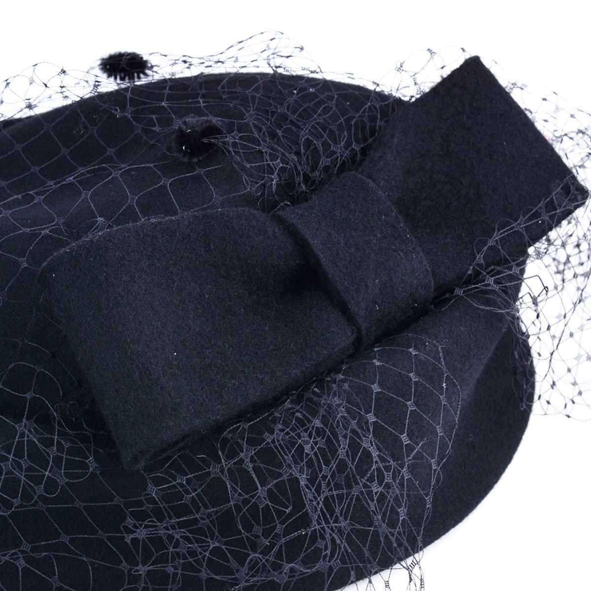 Fascigirl Pillbox Hat Veil Fascinator Party Wedding Retro Top Hat for Women