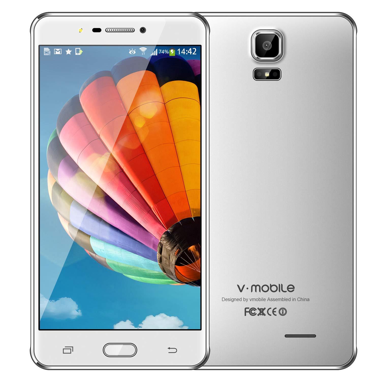 ロック解除Andriod、v mobile A9 +、4G LTEスマートフォンデュアルシム6インチ、1280 x 720ディスプレイ  1 GB + 16 GB  デュアルカメラ5 MP +8 MP  白 B07GFHHKNX