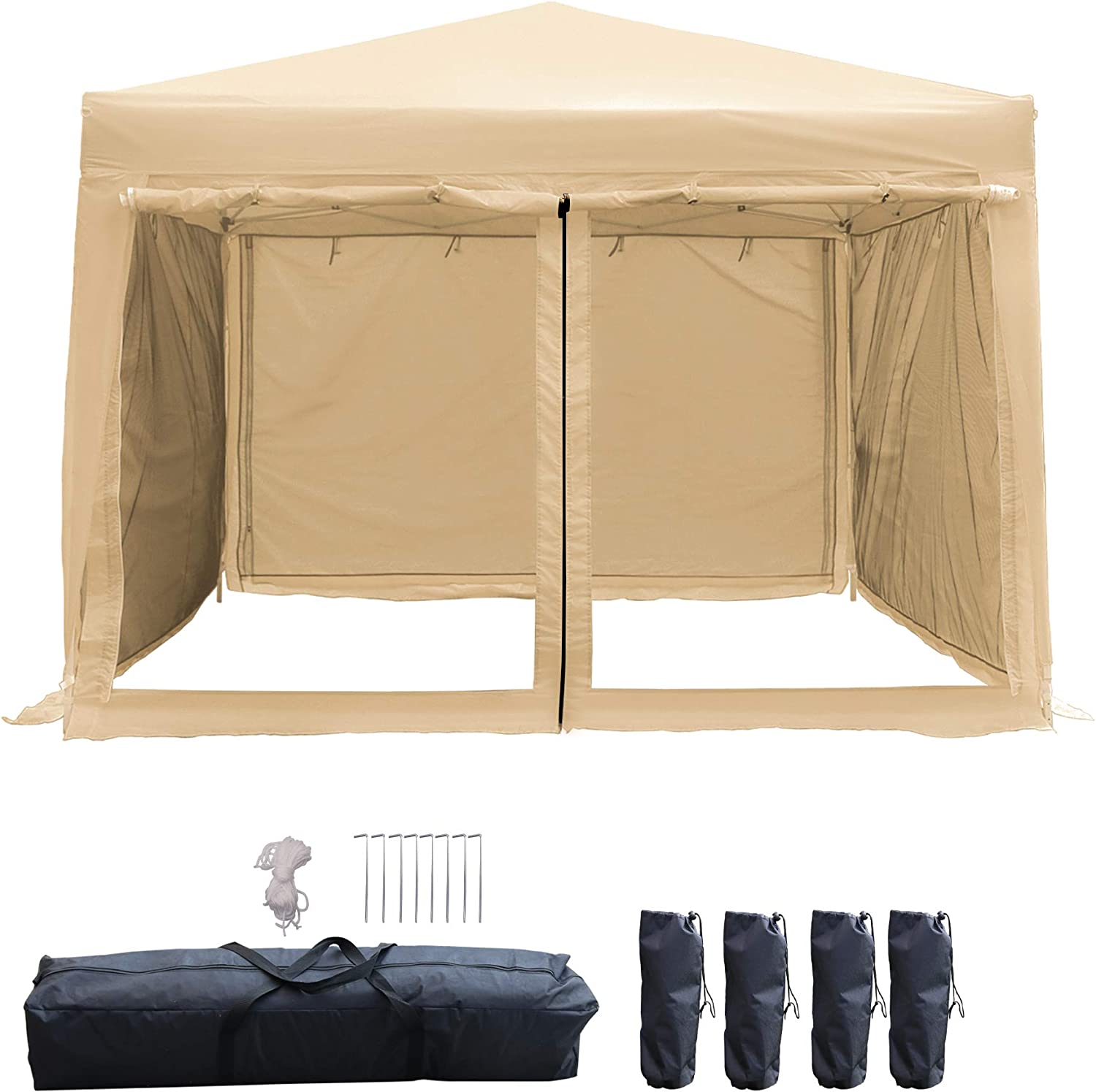 LAZZO 10x10ft Pop up Canopy Tent, Portable Commercial Outdoor Canopy Shelter with Carry Bag, 4 Removable Sidewall Contain Mesh Wall, 4 Weight Bags Without Sand, 8Stakes&4Ropes, Beige