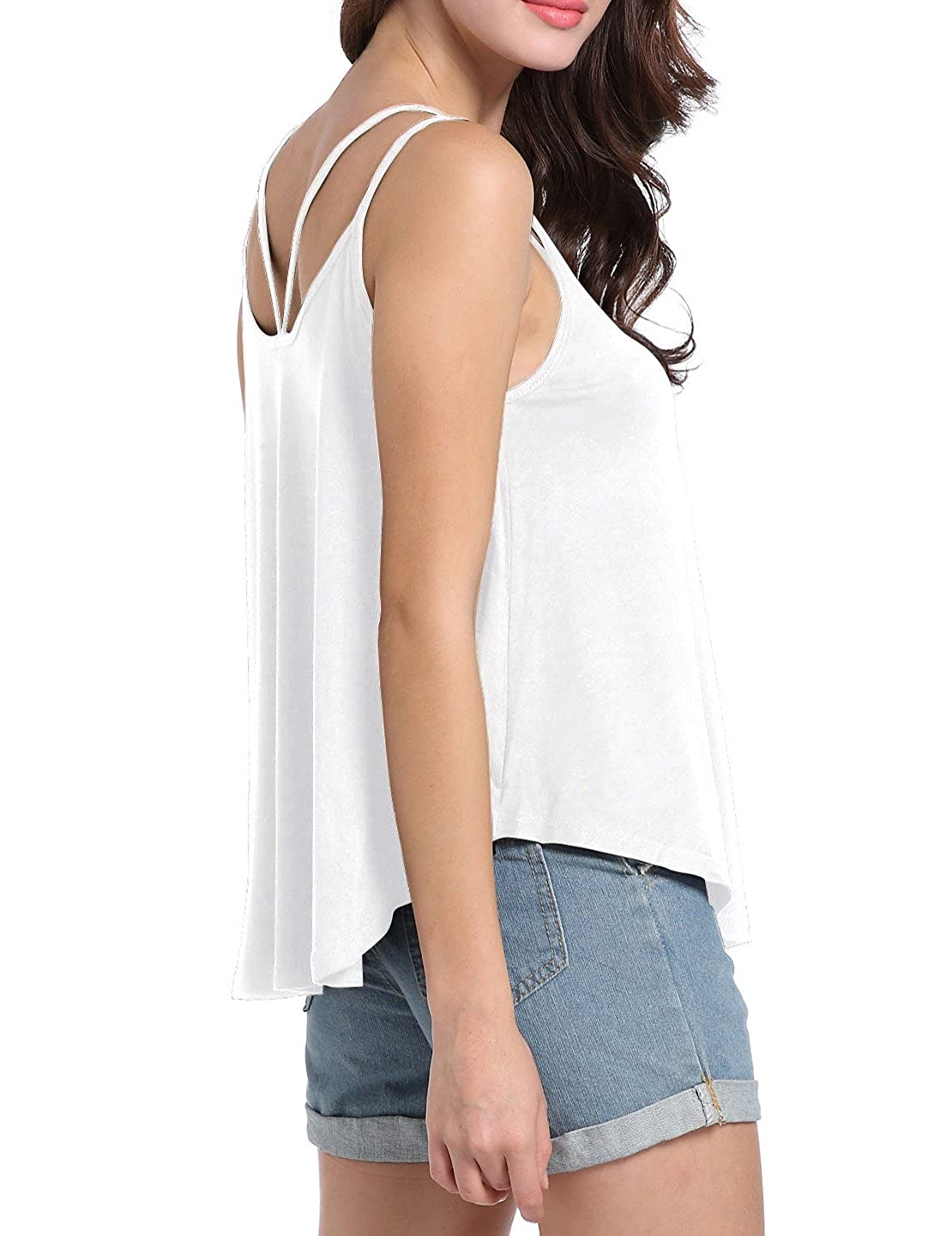 e1216253faed31 BESIPU Oversized Tank Tops for Women Loose Flowy V Neck Spaghetti Strap  Camisoles Shirts at Amazon Women s Clothing store