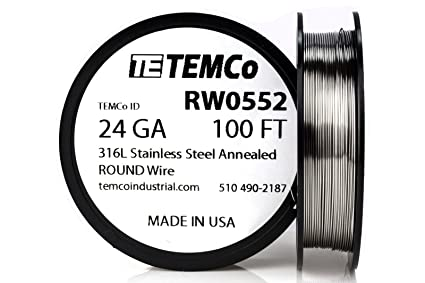 Steel wire awg wire center temco stainless steel wire ss 316l 24 gauge 100 ft non resistance rh amazon com steel wire gauge steel wire gauge greentooth Choice Image