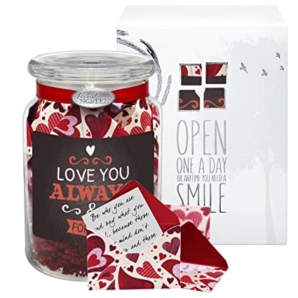 KindNotes Glass Keepsake Gift Jar Of Romantic Long Distance Messages For Him Or Her Birthday