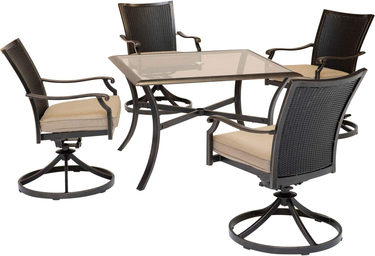 Hanover TRADDNWB5PCSWSQG-TAN Traditions 5-Piece Tan with 4 Wicker Back Swivel Rockers Outdoor Dining Set