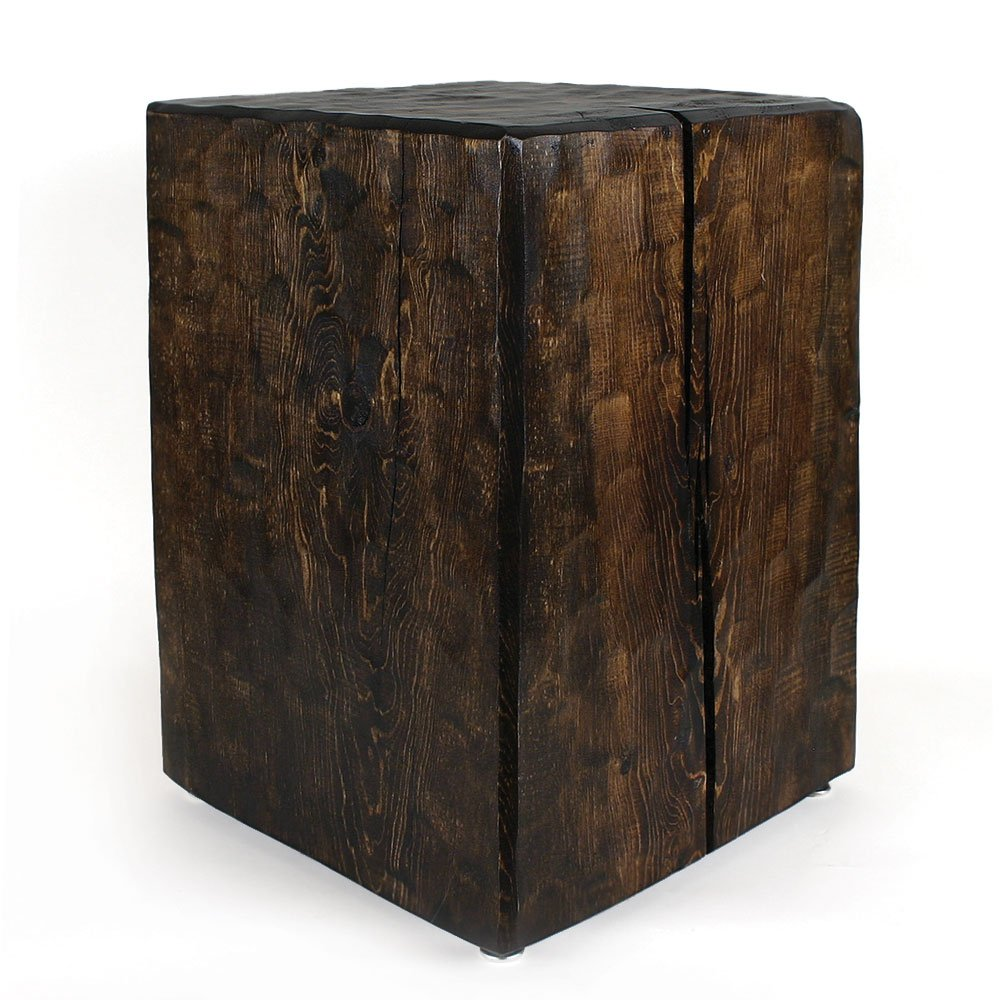 Santa Fe Solid Pine Cube Table: Dark Walnut Finish