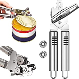 Can Opener, Kitchen Stainless Steel Manual Heavy Duty Cans Openers Smooth Edge Durable Food Safe Cut 3-in-1 Tool Tin Beer Jar Bottle for Seniors with Arthritis Hands Friendly Jars Tools 2 Spare Blades