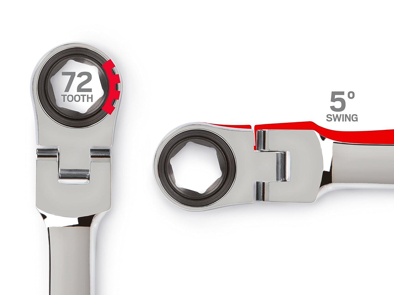 TEKTON WRN77005 Extra Long Flex-Head Ratcheting Box End Wrench 7//16-Inch x 1//2-Inch