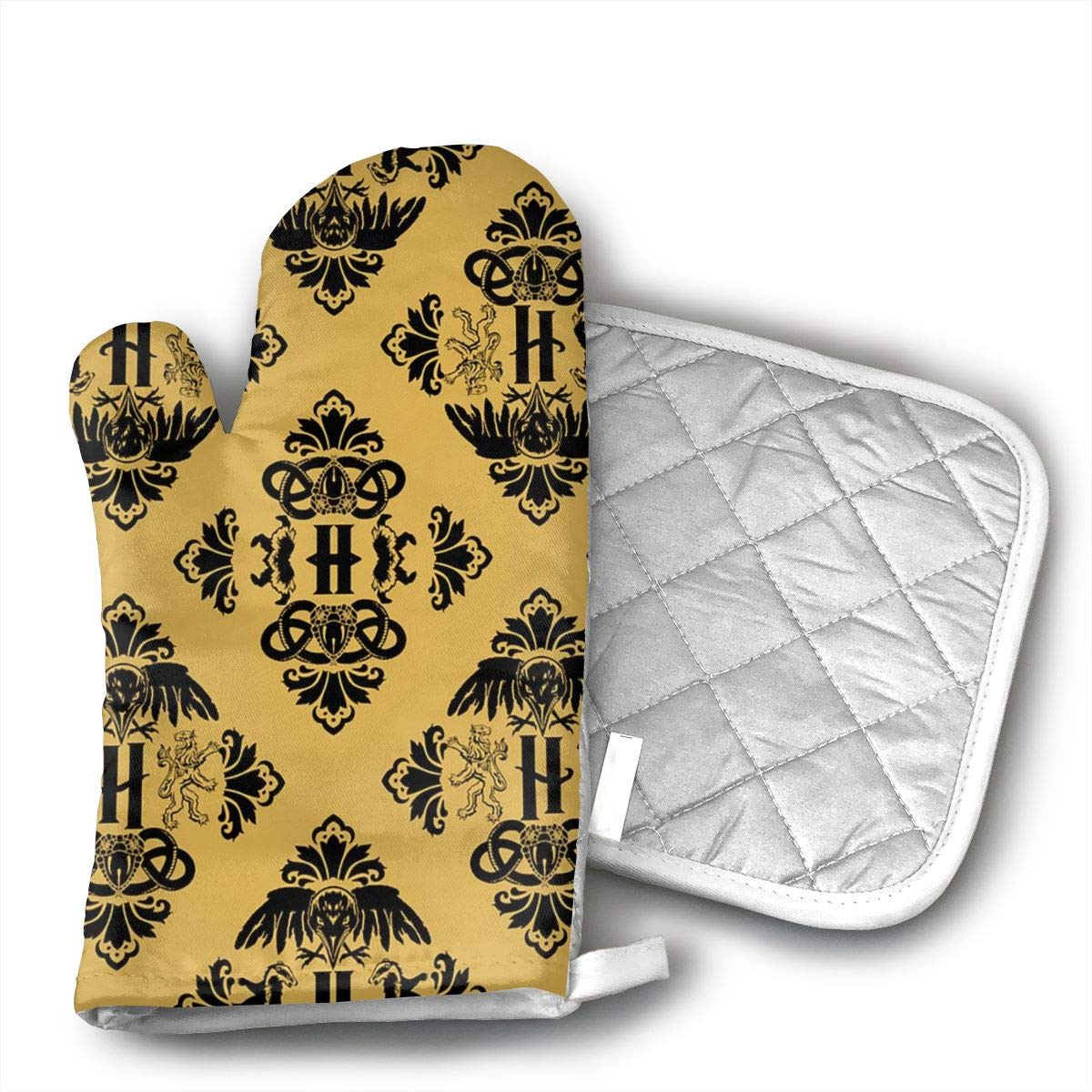 CHWEYAQ Magic Houses of Potter Oven Mitts and Pot Holders Set of for Kitchen Set with Cotton Non-Slip Grip