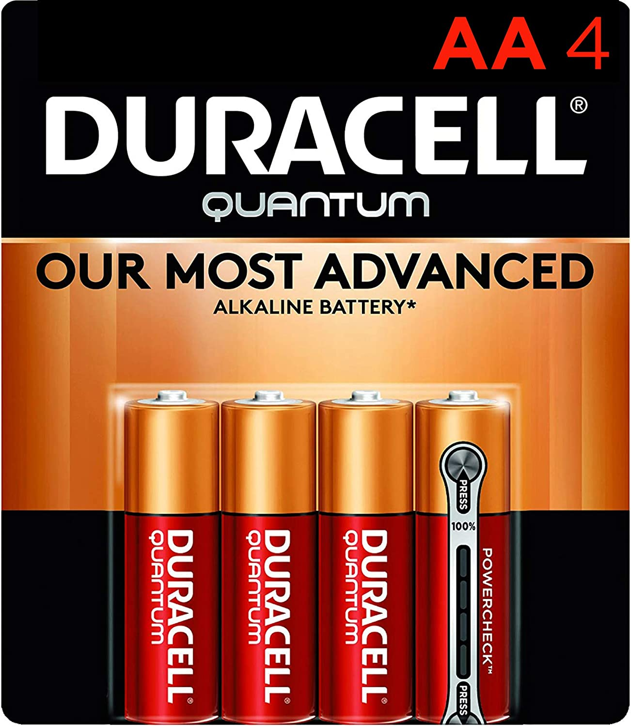 Duracell Quantum AA Alkaline Batteries - Long Lasting, All-Purpose Double A battery for Household and Business - 4 count: Health & Personal Care