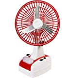 Globex 10-inch Rechargeable Table Fan with LED Lamp(Red)
