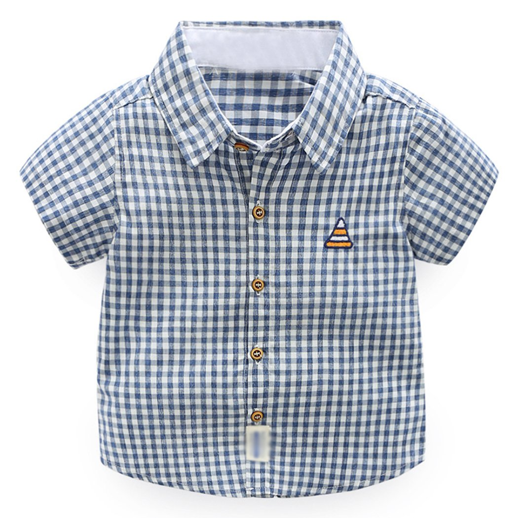 CATERTO Baby Casual Western Oxford Plaid Short Sleeve Uniform School Sports Cotton Button Down Dress Shirts XHDX-123234