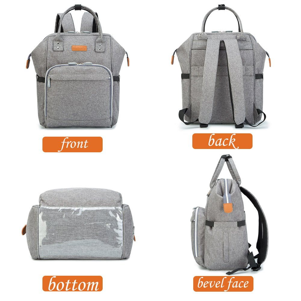 Diaper Backpack Wide Open Design and Waterproof Fabric gray