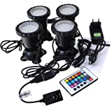 GEEDIAR 36 LED Spot Led Submersible Ampoule / Lampe LED Etanche 1 set avec 4 Lumineuse LED RGB 36 Colorful Aquarium Spot Light  avec 24 Télécommande IR Key (6w+24key)