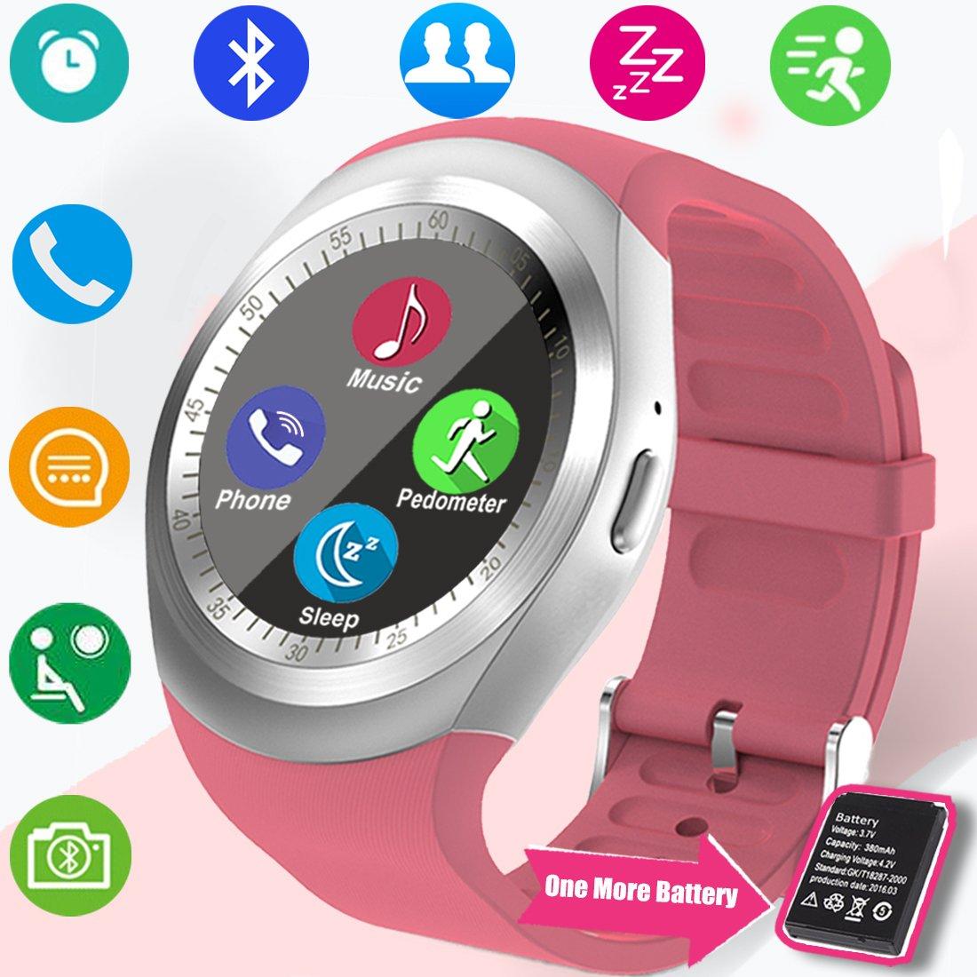 TURNMEON Bluetooth Smartwatch con para SIM Tarjeta Ranura Podómetro de la Cámara Monitor de Sueño Reloj Inteligente Touch Mujeres Lady Hombres ...