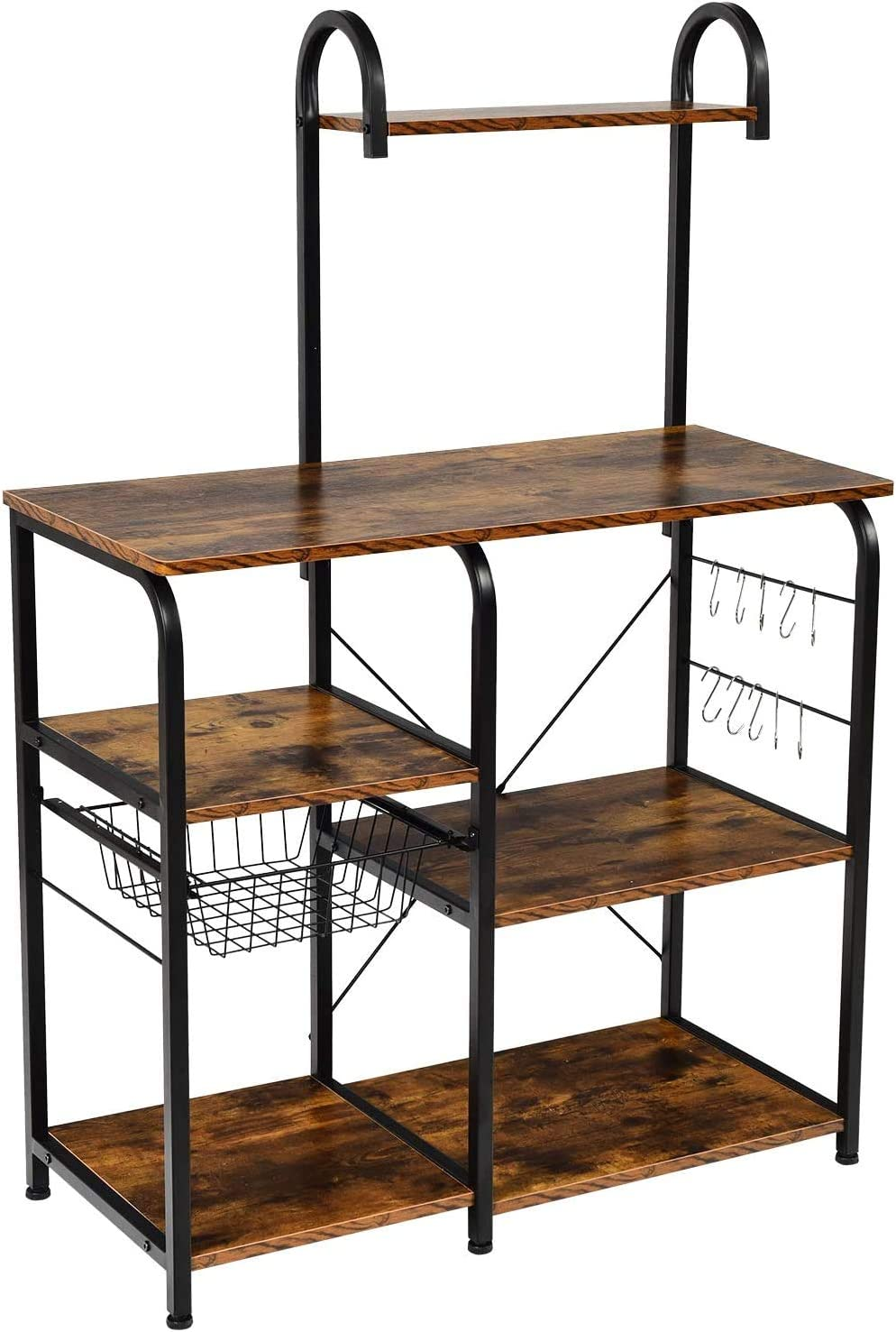 Vintage Kitchen Baker's Rack 35.5 Inches Microwave Oven Stand Workstation Shelf with 10 Hooks, 4+3 Tier Utility Storage Shelf for Spice Rack