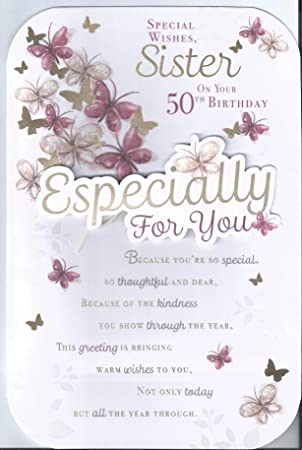 Special wishes sister on your 50th birthday happy greetings card special wishes sister on your 50th birthday happy greetings card m4hsunfo
