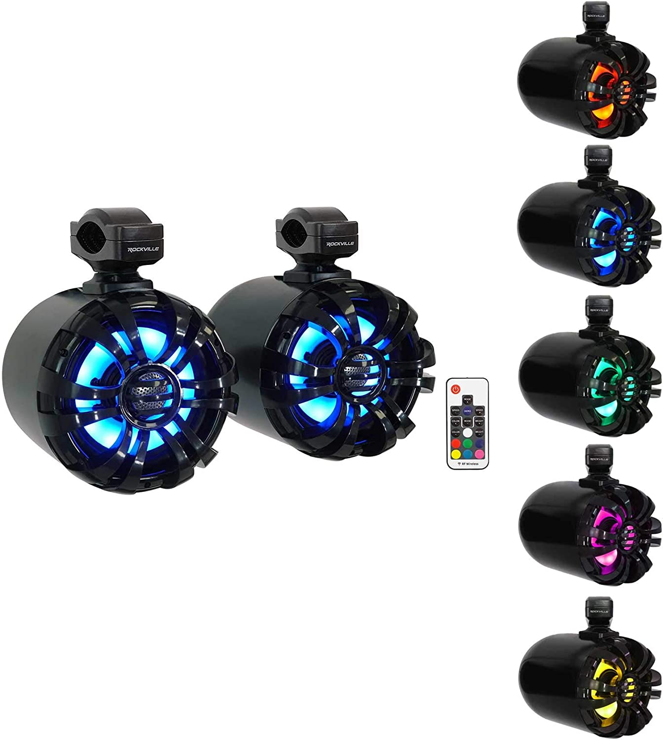 Rockville 2 WB65KLED Black 6.5 Swivel LED Tower Speakers+MTX Amp 4 RZR//ATV//UTV