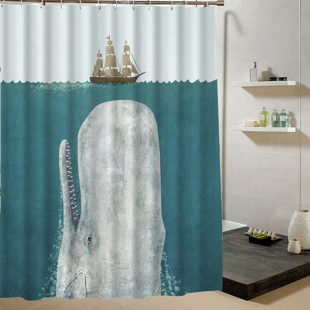 Creative Bathroom Collection Nautical Whale Shower Curtain Blue Fabric 150x180cm Rings Included Beidouxing