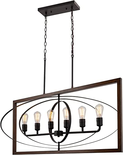 Kira Home Atlas 41 Rustic Industrial 6-Light Kitchen Island Light Free Swinging Rings, Linear Pendant Chandelier, Mission Wood Style Black Finish