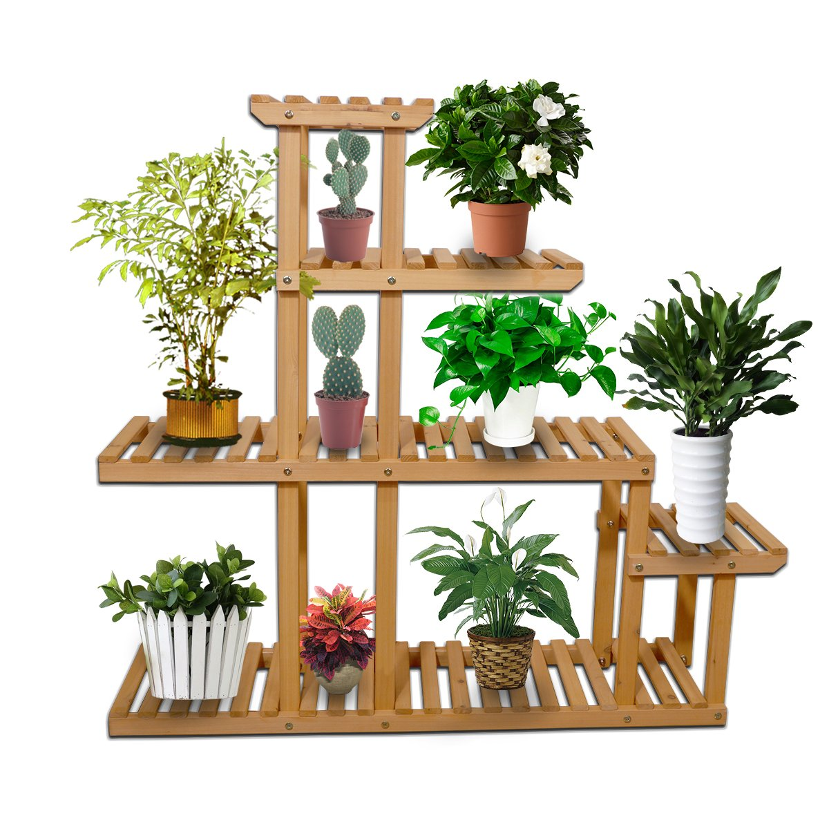 Yardeen Wooden Plant Display Flower Stand 5-Tier Storage Rack Shelving 10 Pot Holder for Garden Patio Corner Indoor&Outdoor Décor