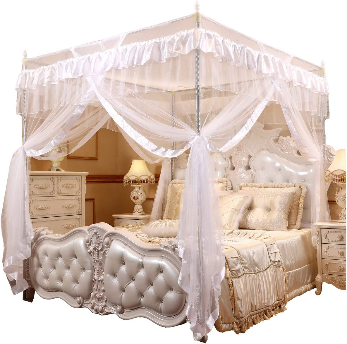 - Amazon.com: Mengersi Princess 4 Corners Post Bed Curtain Canopy