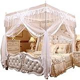 Mengersi Princess 4 Corners Post Bed Curtain Canopy Mosquito Netting (White, Twin)