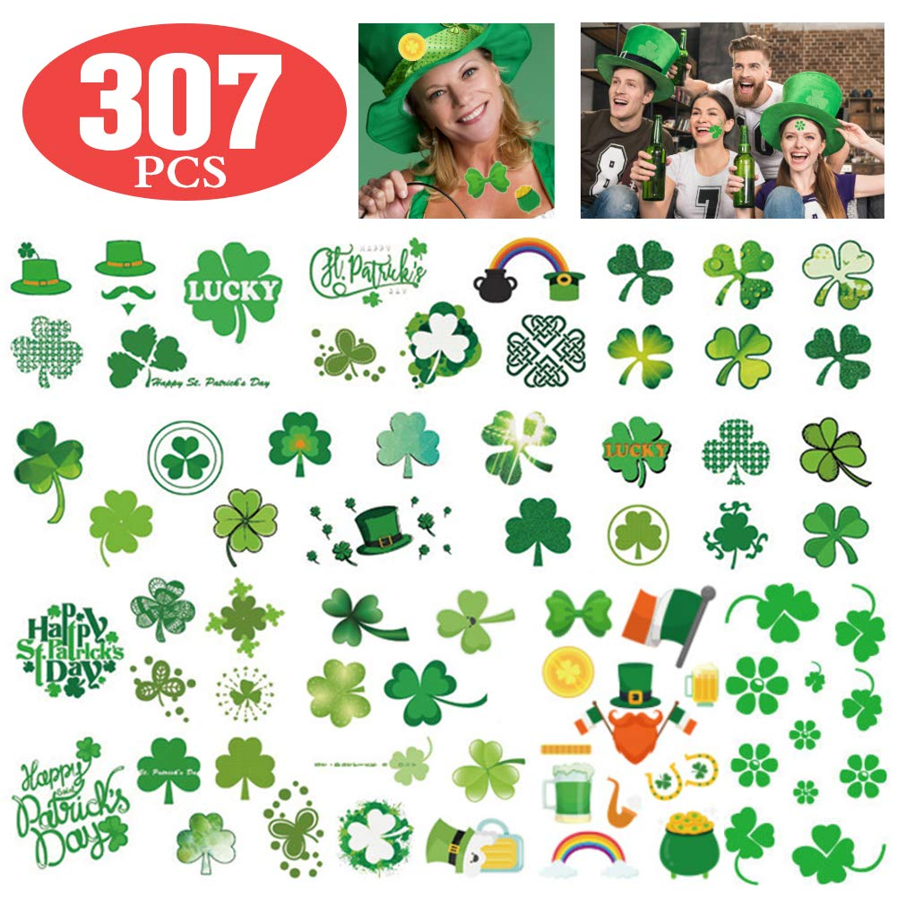 Koogel 307pcs St. Patricks Day Tattoos,Irish Temporary Tattoos Face Tattoo Stickers Saint Patricks Day Accessories Party Favors Gifts