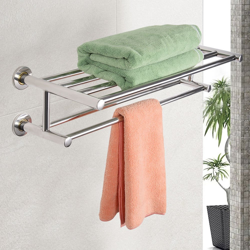 Wall Mounted Towel Rack Bathroom Hotel Rail Holder Storage Shelf Stainless Steel