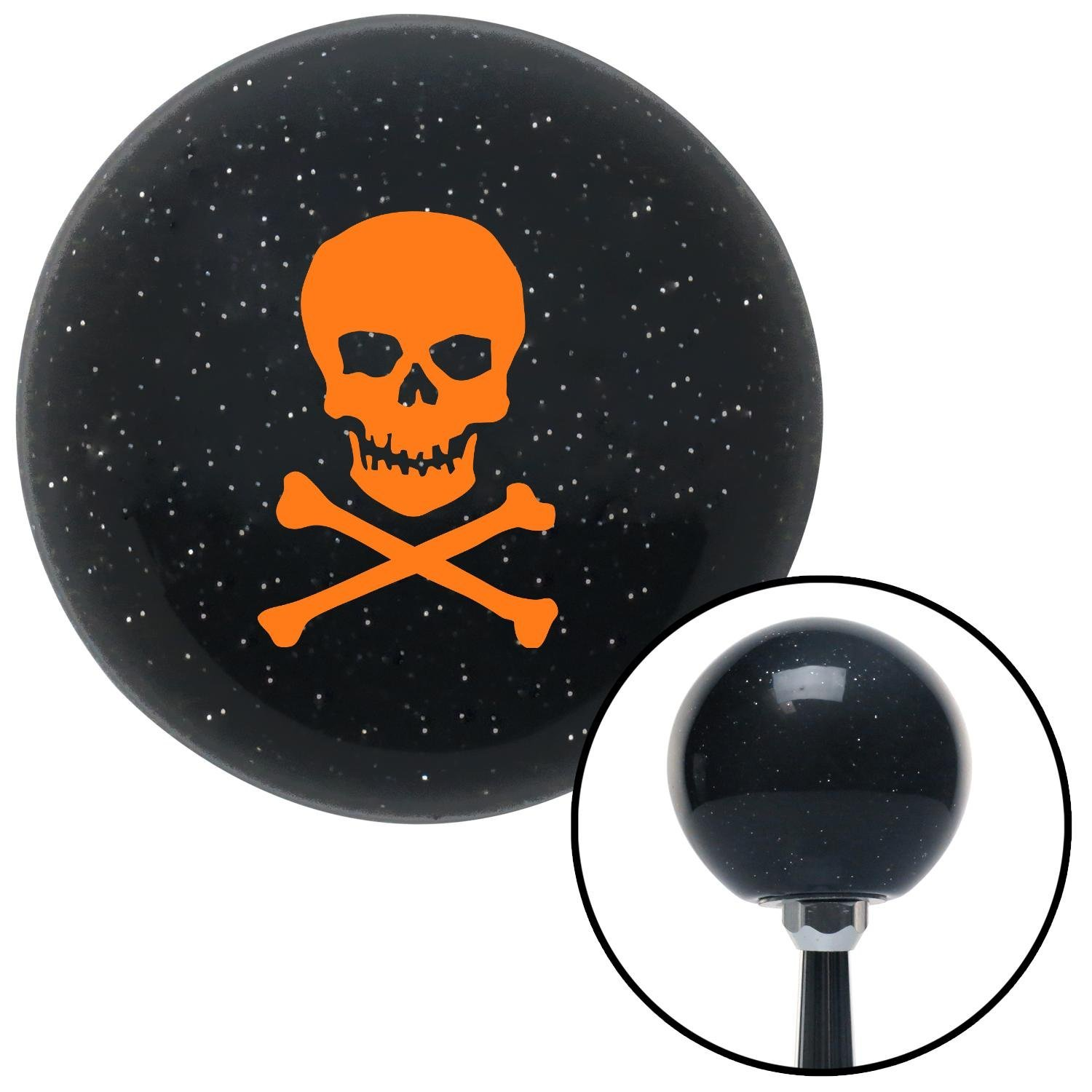 American Shifter 73813 Black Metal Flake Shift Knob with M16 x 1.5 Insert Orange Skull and Bones