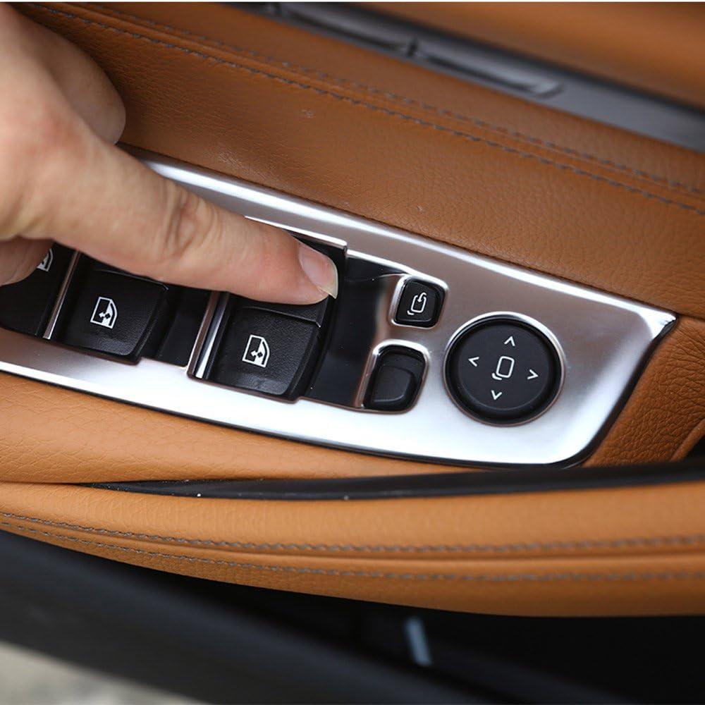 4/F/ür 5/Serie G30/2017/2018/Auto ABS Innen Silber matt Fenster Lift Button Rahmen Verkleidung f/ür die linke Hand Treiber