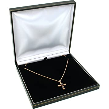 Amazon.com: Black Leather Necklace Gift Box Jewelry Display Case ...